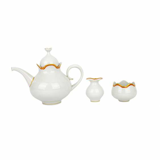 MEISSEN tea service for 6 people 'Large cutout edge with gold and iron red', 2nd choice, 20th century - photo 2