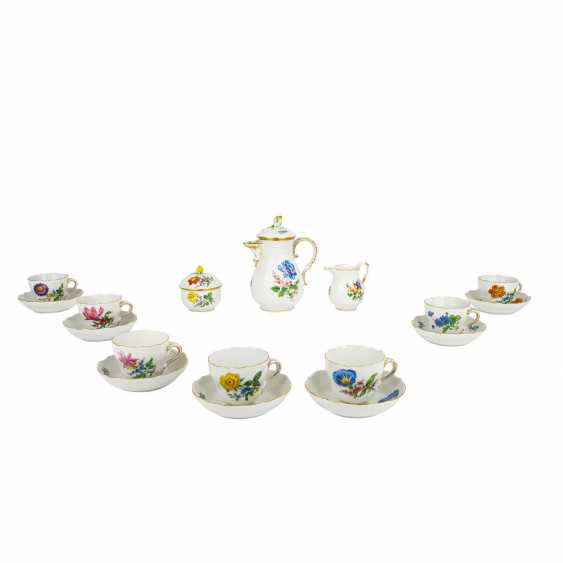 MEISSEN mocha service for 6 people 'Colorful Flower', 2nd choice, 20th century - photo 1