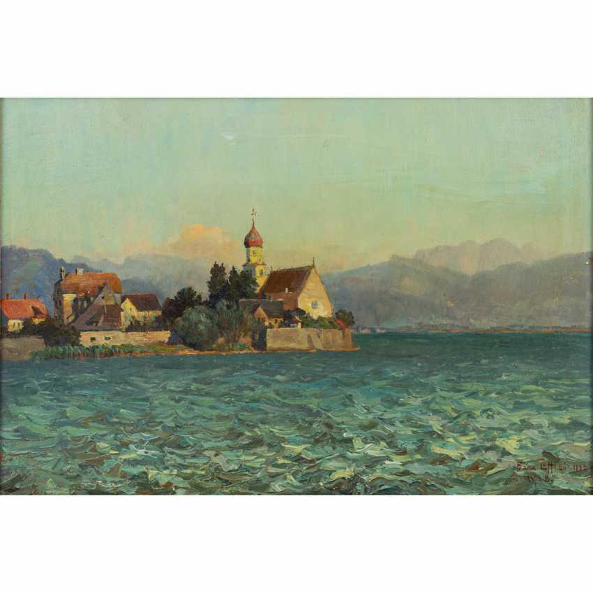 """LÖFFLER, FRANZ (1875-1955), """"View from Malerwinkel to Wasserburg on Lake Constance"""", - photo 1"""