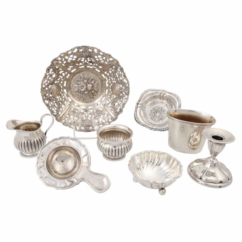 Mixed lot of silver objects, 8 pieces, 20th century: - photo 1