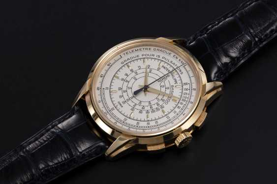 PATEK PHILIPPE, REF. 5975J, A LIMITED EDITION GOLD MULTI-SCALE CHRONOGRAPH WRISTWATCH MADE TO COMMEMORATE THE BRAND'S 175TH ANNIVERSARY - photo 1