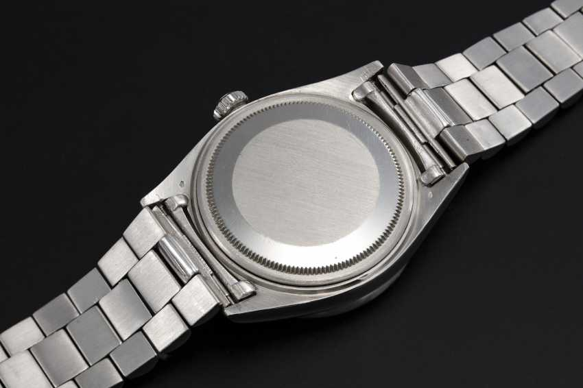 ROLEX, A PLATINUM OYSTER PERPETUAL DAY-DATE WITH DIAMOND-SET BEZEL AND ARABIC CALENDAR AND NUMERALS, REF. 1804  - photo 2