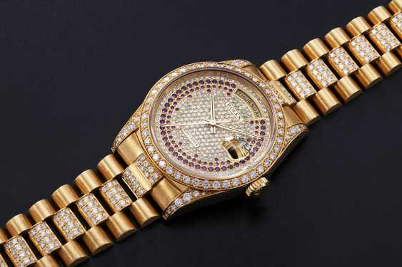 ROLEX, A GOLD OYSTER PERPETUAL DAY-DATE WITH DIAMONDS AND RUBIES, REF. 18388 - photo 1