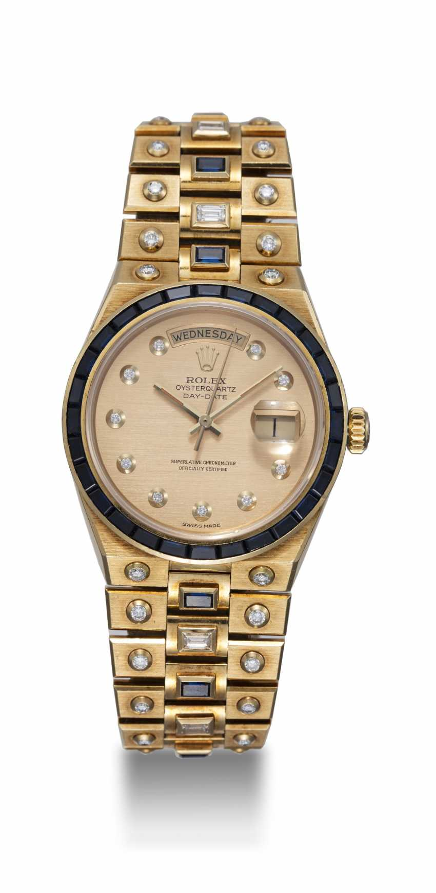 ROLEX, A YELLOW GOLD DAY-DATE OYSTERQUARTZ SET WITH DIAMONDS AND SAPPHIRES, REF: 19168 - photo 3