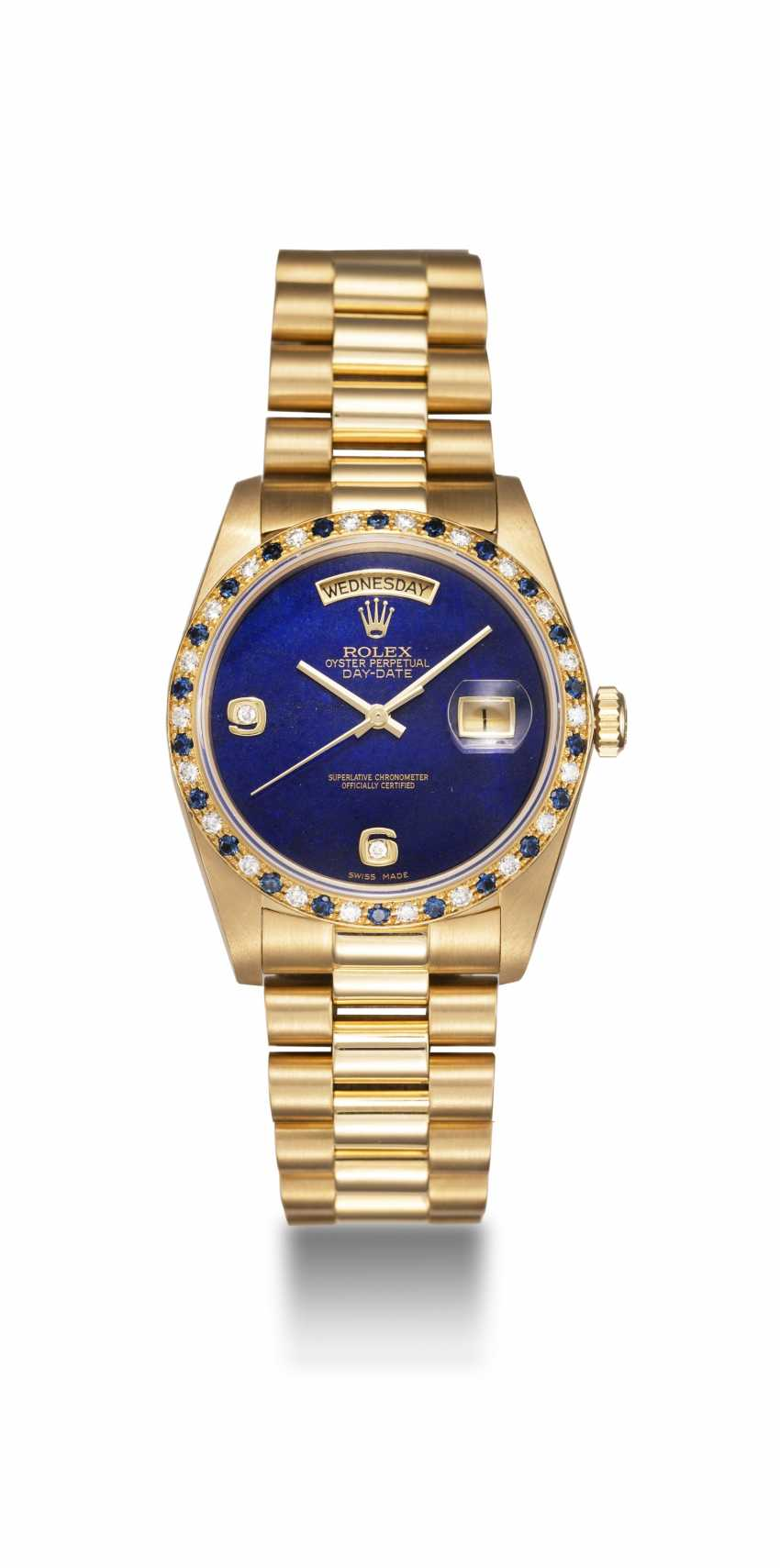 ROLEX, A GOLD OYSTER PERPETUAL DAY-DATE WITH SAPPHIRE AND DIAMOND CRUSTED BEZEL AND LAPIS-LAZULI DIAL, REF. 18148 - photo 3