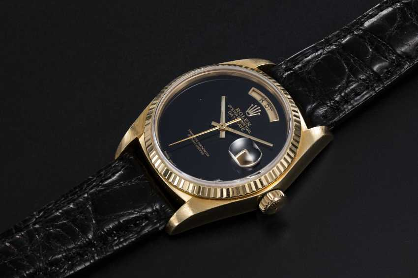ROLEX, A GOLD OYSTER PERPETUAL DAY-DATE WITH ONYX DIAL AND HEBREW CALENDAR, REF. 18038 - photo 1