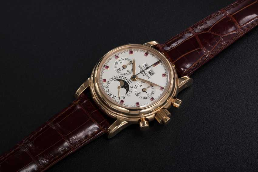 PATEK PHILIPPE, REF. 5004R, A RARE PERPETUAL CALENDAR SPLIT-SECONDS CHRONOGRAPH WITH RUBY HOUR-MARKERS - photo 1