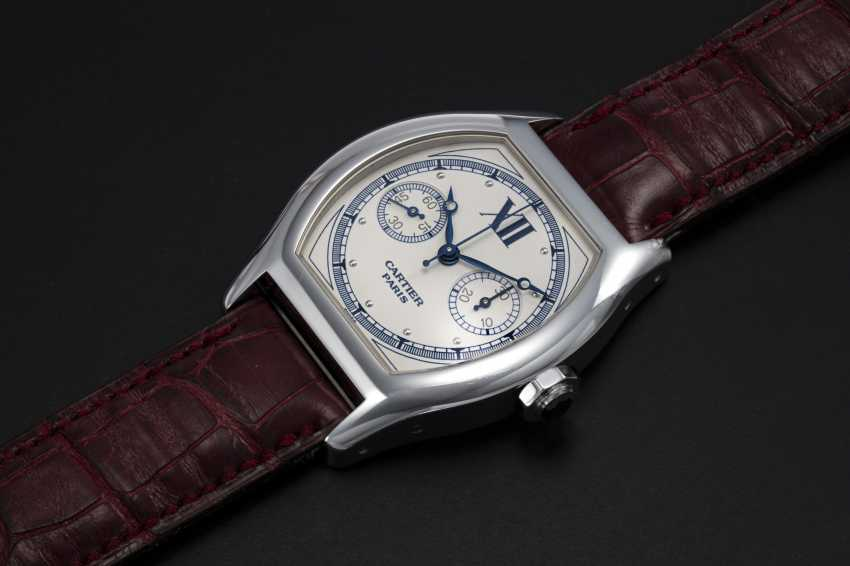 CARTIER, A WHITE GOLD TORTUE MONOPUSHER CHRONOGRAPH, REF. 2396 - photo 1