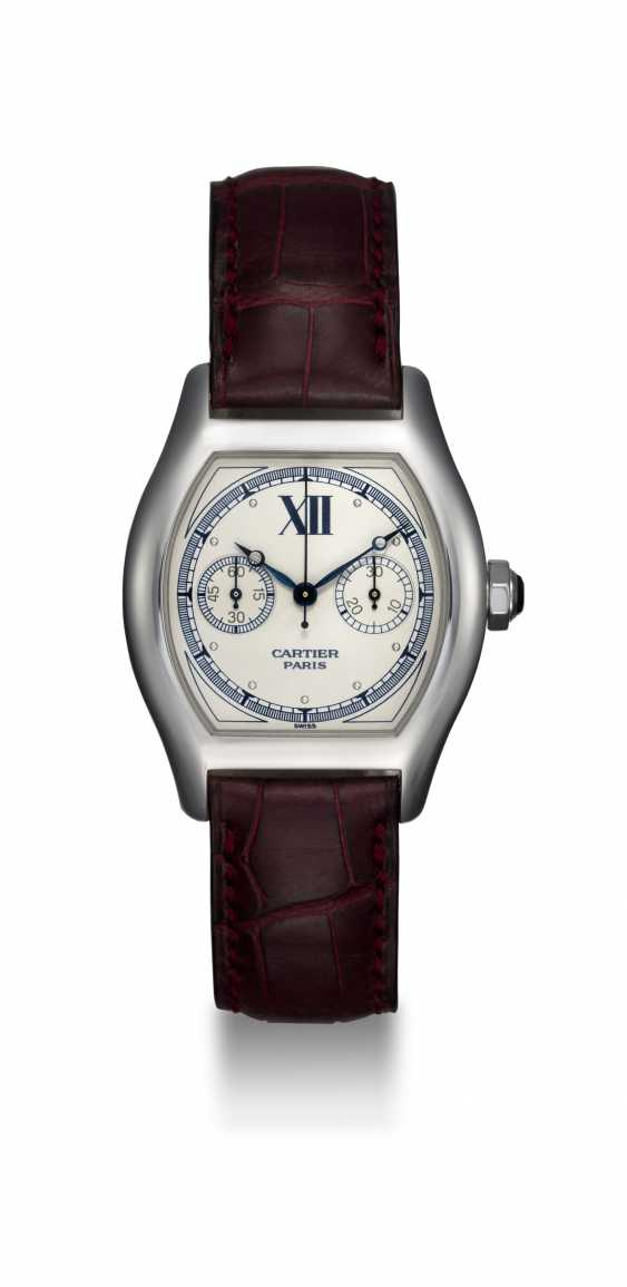CARTIER, A WHITE GOLD TORTUE MONOPUSHER CHRONOGRAPH, REF. 2396 - photo 3
