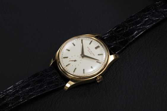 PATEK PHILIPPE, A GOLD SELF-WINDING WRISTWATCH WITH ENAMEL DIAL, REF. 2526 - photo 1