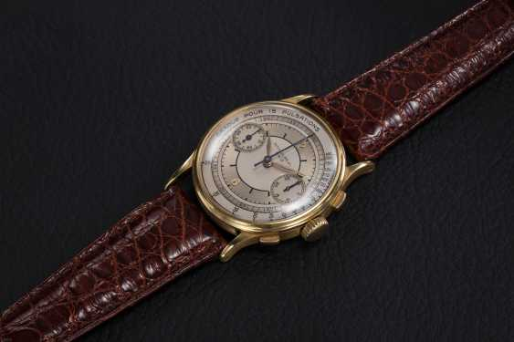 PATEK PHILIPPE, REF. 130, A GOLD RESTORED CRONOGRAPH WITH PULSOMETER SCALE - photo 1