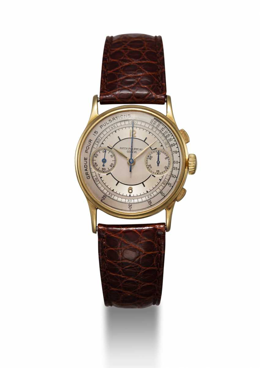 PATEK PHILIPPE, REF. 130, A GOLD RESTORED CRONOGRAPH WITH PULSOMETER SCALE - photo 3