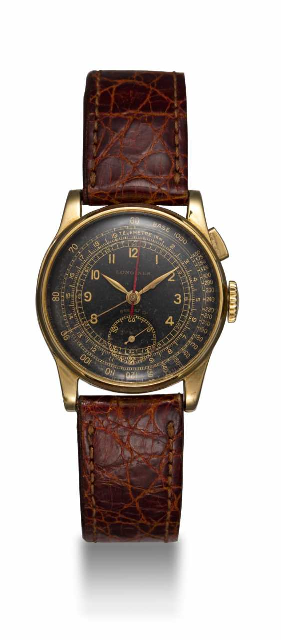 LONGINES, A RARE GOLD MONOPUSHER STOP SECONDS CHRONOGRAPH WITH FLYBACK FUNCTION, REF. 4631 - photo 3