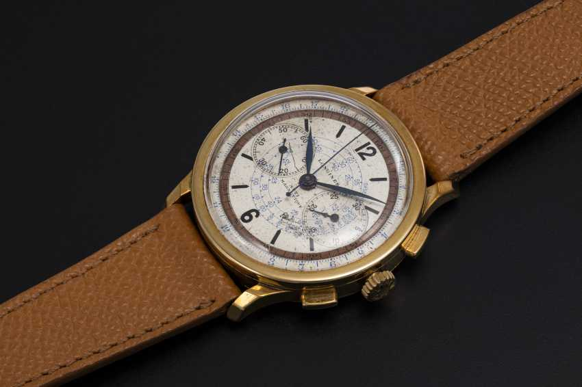 LONGINES, A YELLOW GOLD MULTI-SCALE CHRONOGRAPH WITH 13ZN MOVEMENT - photo 1