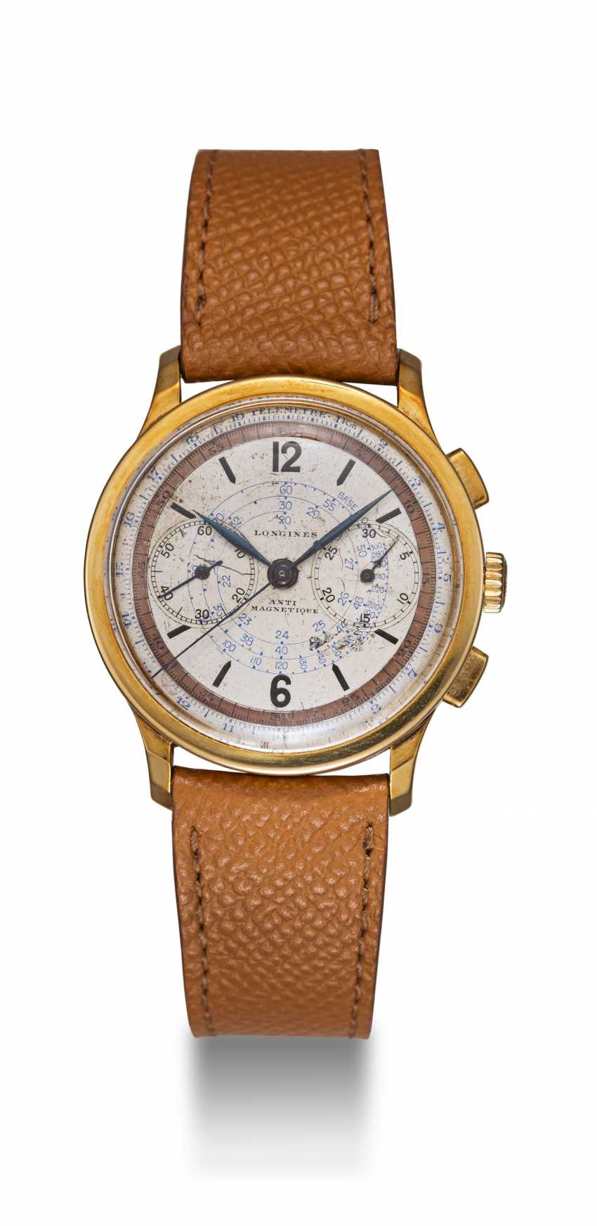 LONGINES, A YELLOW GOLD MULTI-SCALE CHRONOGRAPH WITH 13ZN MOVEMENT - photo 3