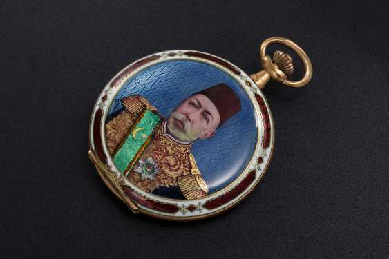 A LATE OTTOMAN GOLD HUNTER CASE POCKET WATCH WITH AN ENAMEL PORTRAIT OF MEHMET V - photo 1