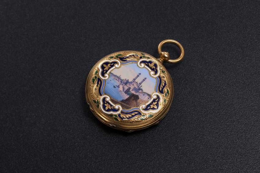 DUMONT GUINAND, A 19TH CENTURY GOLD DOUBLE HUNTER CASE POCKET WATCH WITH ENAMEL PAINTING - photo 1