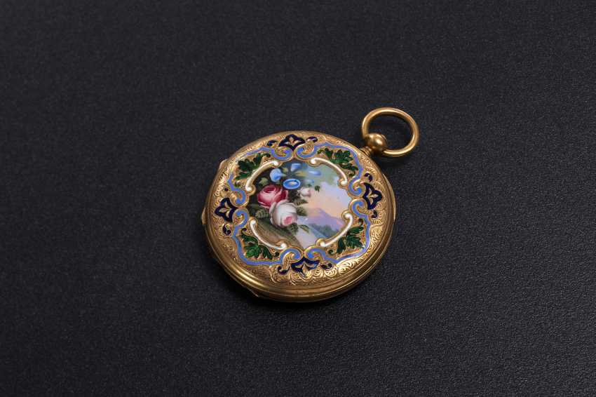 DUMONT GUINAND, A 19TH CENTURY GOLD DOUBLE HUNTER CASE POCKET WATCH WITH ENAMEL PAINTING - photo 2