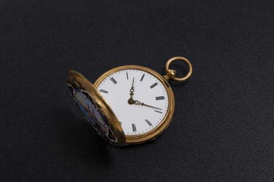 DUMONT GUINAND, A 19TH CENTURY GOLD DOUBLE HUNTER CASE POCKET WATCH WITH ENAMEL PAINTING - photo 3