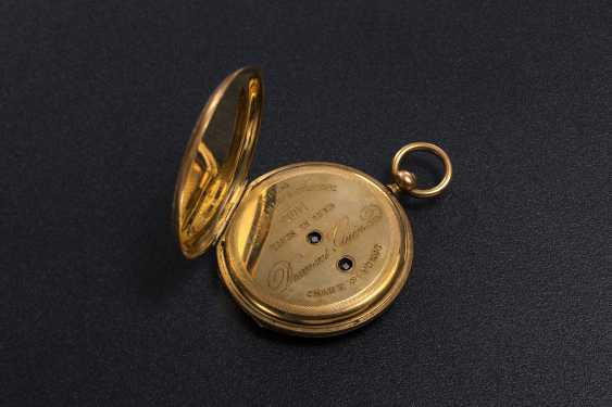 DUMONT GUINAND, A 19TH CENTURY GOLD DOUBLE HUNTER CASE POCKET WATCH WITH ENAMEL PAINTING - photo 4