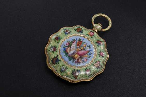 LE ROY, A GOLD AND ENAMEL SCALLOP-SHAPED CASE POCKET WATCH MADE FOR THE TURKISH MARKET - photo 1