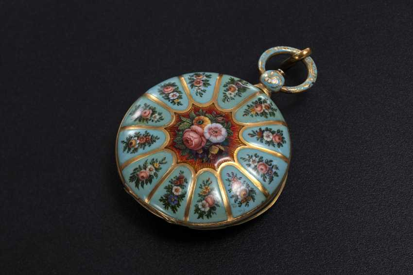 A 19th CENTURY GOLD AND FLORAL ENAMEL POCKET WATCH MADE FOR THE TURKISH MARKET, LE ROY - photo 1
