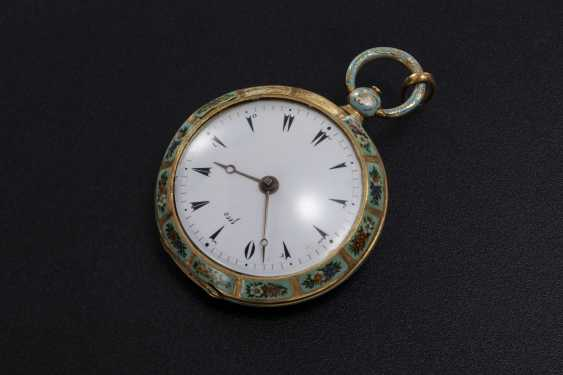 A 19th CENTURY GOLD AND FLORAL ENAMEL POCKET WATCH MADE FOR THE TURKISH MARKET, LE ROY - photo 2