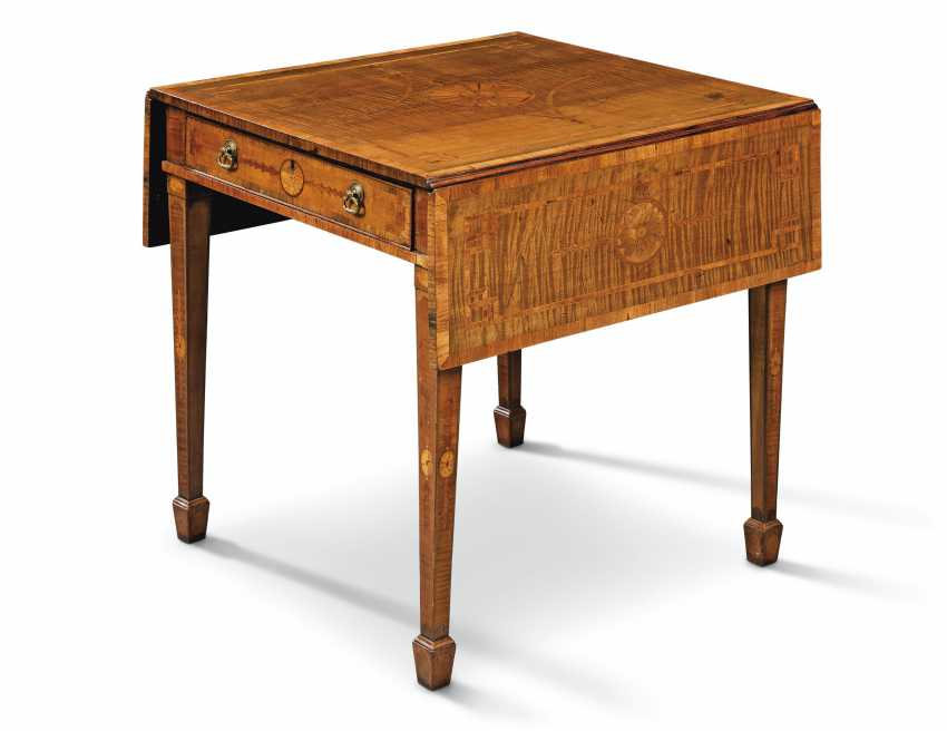 A GEORGE III TULIPWOOD-CROSSBANDED, HAREWOOD, INDIAN ROSEWOOD AND FRUITWOOD MARQUETRY PEMBROKE TABLE - photo 1