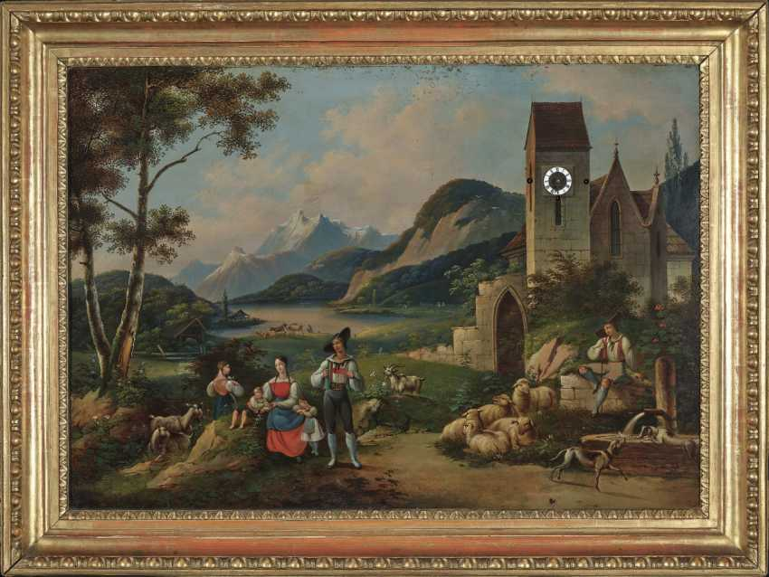 "Picture clock ""Shepherd Idyll in the Berchtesgadener Land"", South German, 1st third of the 19th century - photo 1"