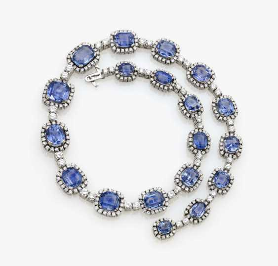 Entourage necklace with azure blue sapphires and diamonds, Germany, 1970s - photo 1