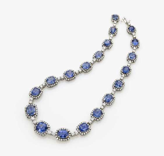 Entourage necklace with azure blue sapphires and diamonds, Germany, 1970s - photo 5