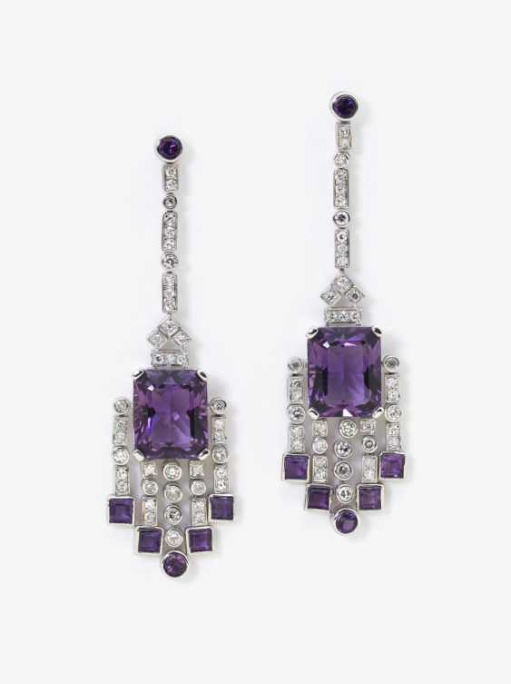 A pair of cocktail earrings with diamonds and amethysts, Germany - photo 1