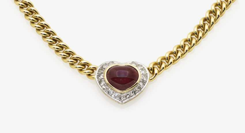 Necklace and a pair of earrings with rubies and diamonds, yellow and yellow - photo 1