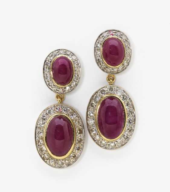 Necklace and a pair of earrings with rubies and diamonds, yellow and yellow - photo 2