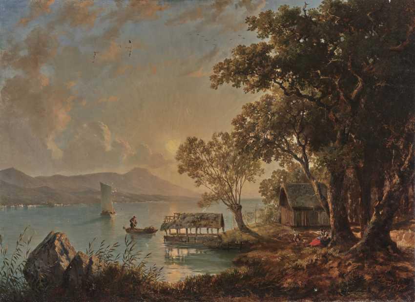 Johann Jakob Ulrich, evening mood on the lakeshore - photo 1