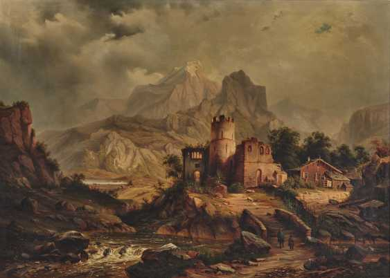 German mid-19th century, mountain landscape with ruins and alpine hut - photo 1