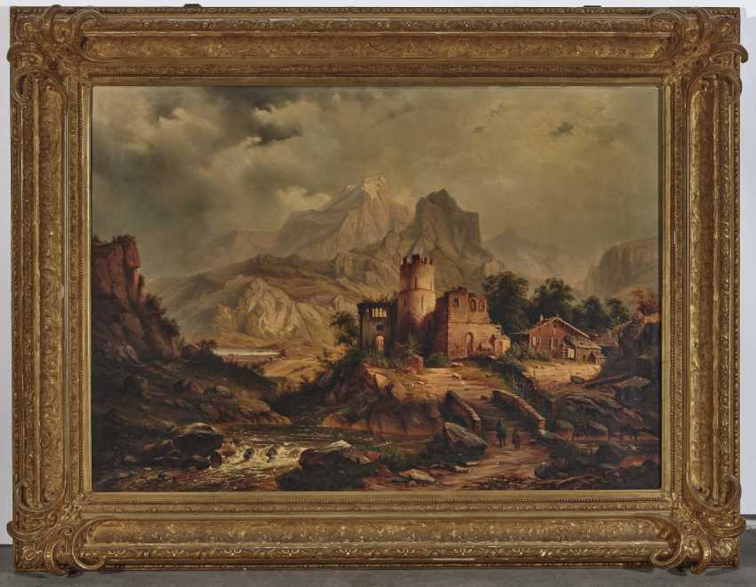 German mid-19th century, mountain landscape with ruins and alpine hut - photo 2