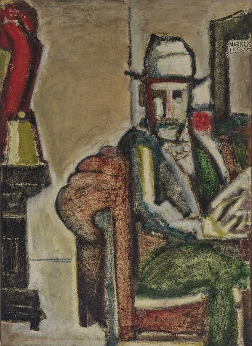 Markus Lüpertz, seated man with hat, 1960s - photo 1