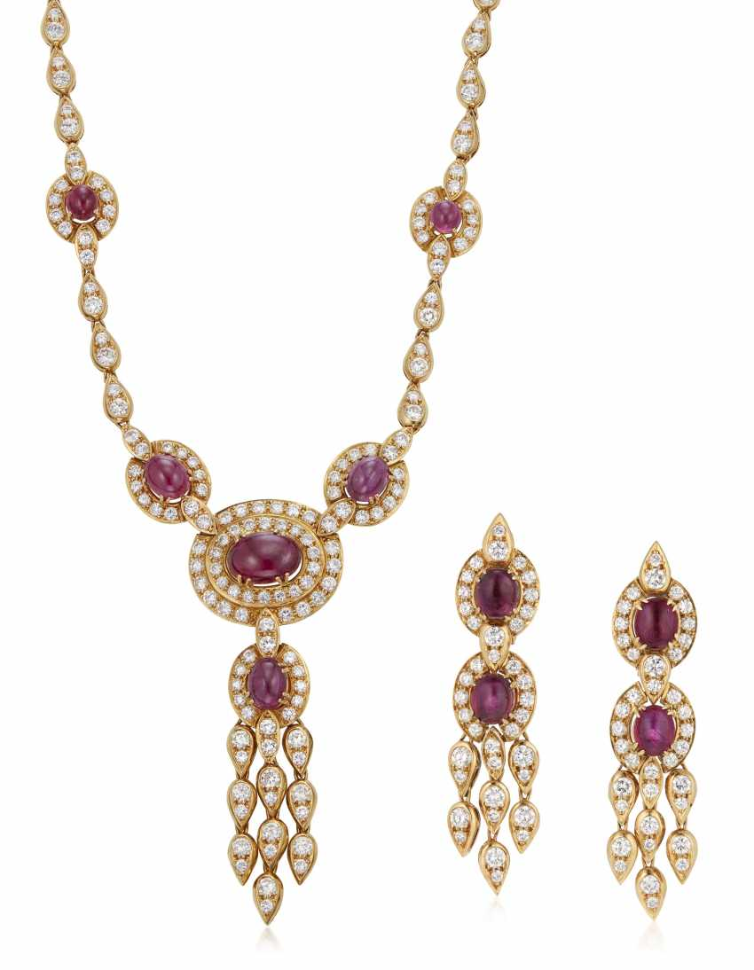 GRAFF DIAMOND AND RUBY NECKLACE AND EARRINGS - photo 1