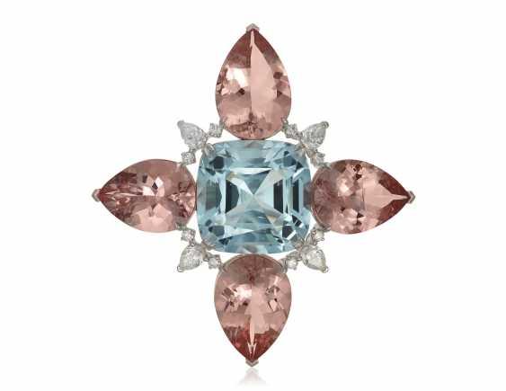 AQUAMARINE, MORGANITE AND DIAMOND BROOCH - photo 1