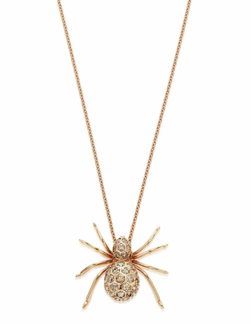 COLORED DIAMOND SPIDER PENDANT NECKLACE - photo 1