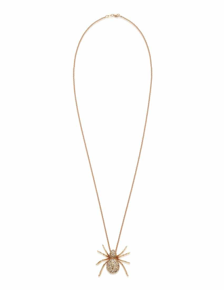 COLORED DIAMOND SPIDER PENDANT NECKLACE - photo 3