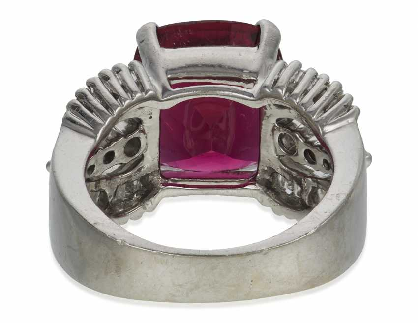 RUBELLITE TOURMALINE AND DIAMOND RING - photo 4