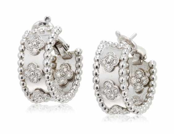 VAN CLEEF & ARPELS DIAMOND 'PERLÉE' HOOP EARRINGS - photo 1