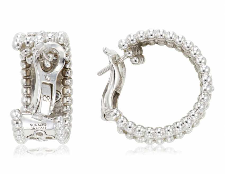 VAN CLEEF & ARPELS DIAMOND 'PERLÉE' HOOP EARRINGS - photo 3
