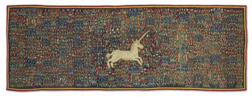 A MILLEFLEURS TAPESTRY WITH A UNICORN IN A FIELD OF FLOWERS - photo 1