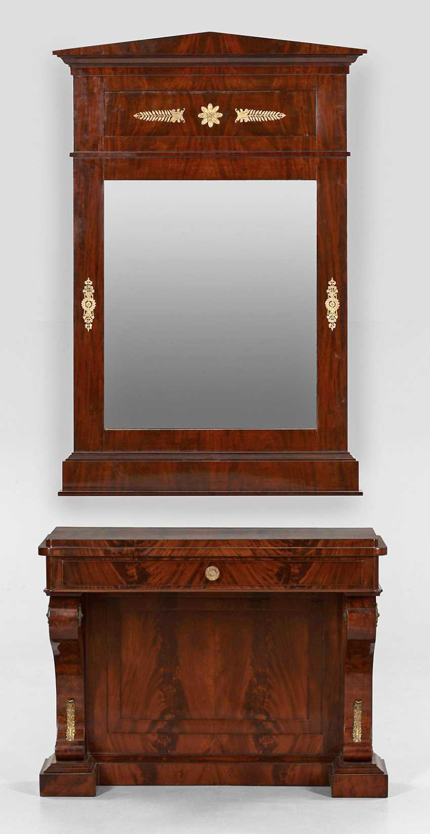 Large Biedermeier wall mirror with console table - photo 1