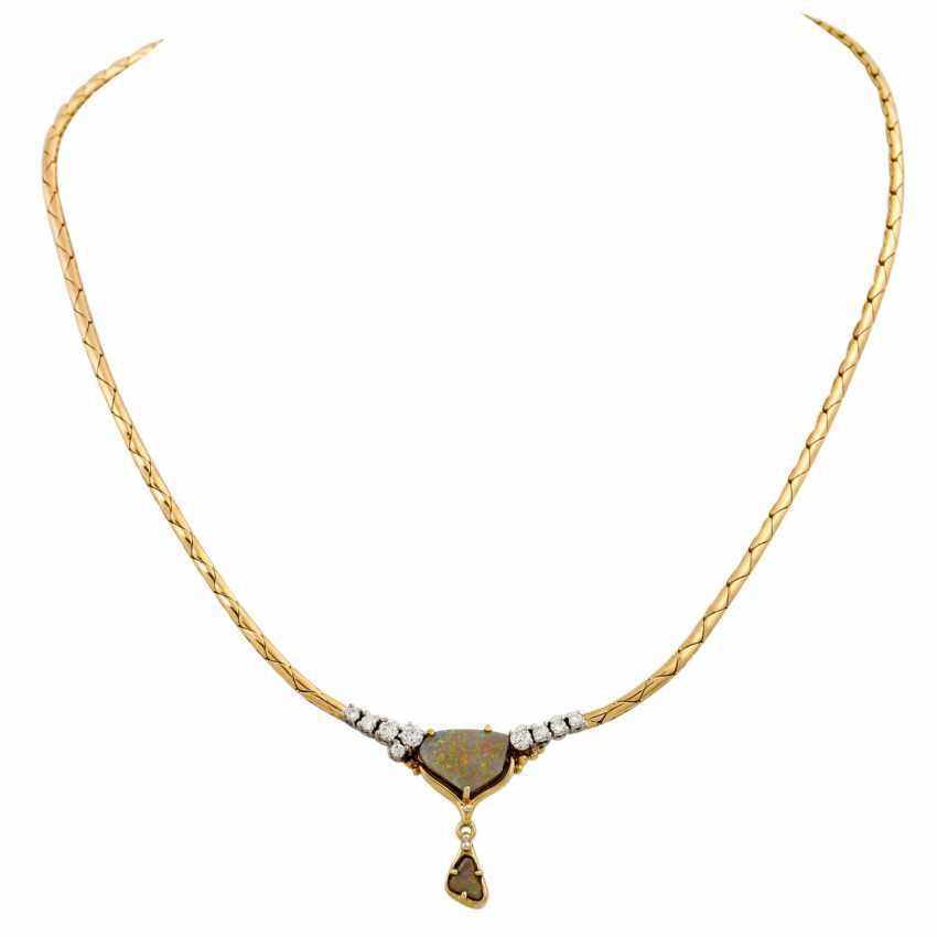 Necklace with 2 opals and diamonds together approx. 0.35 ct, - photo 1