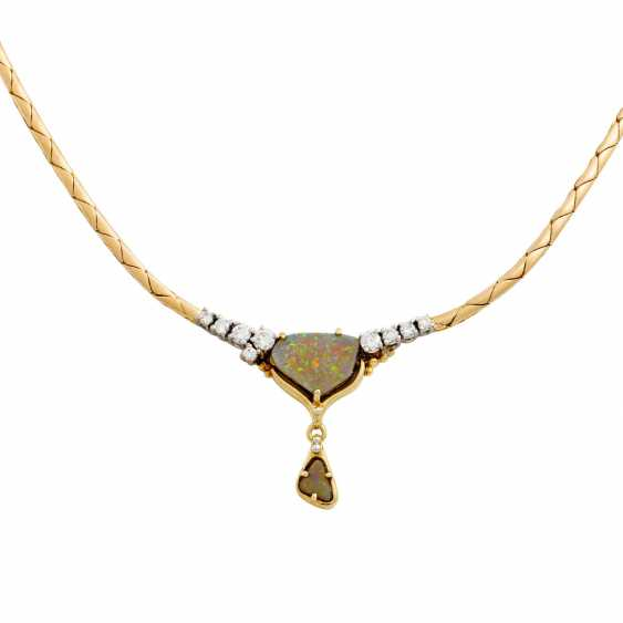 Necklace with 2 opals and diamonds together approx. 0.35 ct, - photo 2