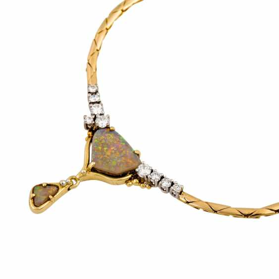 Necklace with 2 opals and diamonds together approx. 0.35 ct, - photo 4